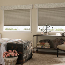 Honeycomb shades and valances - Photo courtesy of Comfortex. Please contact Exquisite Windows & Decor to order. Add a finishing touch to honeycomb shades with a custom coordinating valance. This not only finishes the overall look but hides the headrail of the shade.