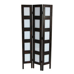 Oriental Furniture - 4 ft. Tall Vintage Photo Frame Room Divider - Three panel room divider for displaying your cherished photographs, upholstered in a black and brown accented faux leather. Displays fifteen 4-by-6-inch photographs or art prints behind durable Plexiglass display panels. Back panels provide easy access for image replacement. Constructed with brass two-way hinges for independent standing.