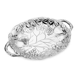 "Wilton Armetale - Wilton Armetale Oval Fruit Tray - This large serving tray features incredibly realistic sculptural detail in every piece of fruit and vegetable that is meticulously crafted in exquisite relief. Offers plenty of serving surface and easy to grasp ""organic"" handles."