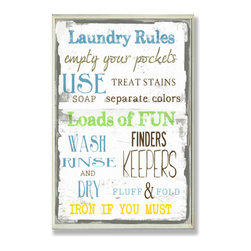 Stupell Industries - Laundry Room Typography Rect Wall Plaque - Treat your home to some style with one this decorative wooden wall plaques.    It is produced on sturdy half-inch thick MDF wood, and comes with a saw tooth hanger on the back for instant use.  The sides are hand finished and painted so a perfect crisp look.  MADE IN USA.