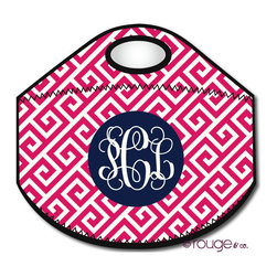 """Greek Key Personalized Lunch Tote - Want to upgrade your plastic grocery bag lunch tote and get something you're not embarrassed to show at the office? Create your own cute lunch bag by choosing your favorite colors, pattern, and adding your name or initial. Another bonus about personalization? No grabbing the """"wrong"""" lunch!  Each neoprene insulated tote measures 12"""" x 10.5"""" when flat."""