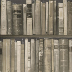 Wall Of Books Library Wallpaper - Stone