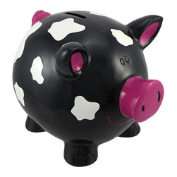 Zeckos - Contemporary Art Piggy Bank Black with Cow Spots 8 In. - This children's coin bank is a new take on an old classic; a pig shaped bank with contemporary art designs that functions as a decorative accent as well as an aid in encouraging a saving habit. Made of cold cast resin, it measures 8 inches long, 6 inches tall, 5 1/2 inches wide, and it empties via a plastic plug on the bottom. This little piggy is hand painted, giving it a whimsical quality that is sure to be adored, and it makes a wonderful birthday or holiday gift.