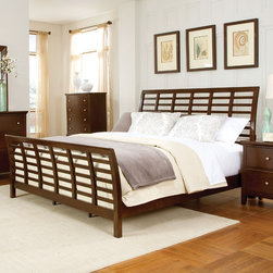 """Standard Furniture - Scottsdale Sleigh Bed - The bed is an open slatted """"waffle"""" bed with the flared curves of a sleigh bed offered in queen and king sizes. Features: -Scottsdale collection. -Dark merlot finish. Specifications: -Queen Dimensions: 30"""" H x 2"""" W x 62"""" D. -King Dimensions: 30"""" H x 2"""" W x 79"""" D."""