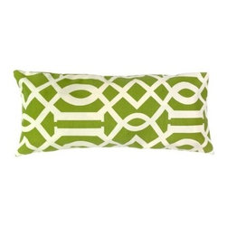 5 Surry Lane - Green Trellis Indoor Outdoor Lumbar Pillow - Whether you lounge inside or by the poolside, you'll be ready for summer with this chic green and white pillow. Its intricate trellis pattern features waves, zigzags and lines for an easygoing geometric look. Pop it on the chaise lounge or use a few on your rattan couch for a dose of warm weather elegance.
