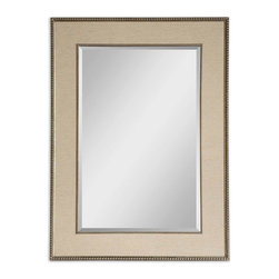 "Uttermost - Marilla Beaded Silver Mirror - Frame's Inner And Outer Edges Feature A Delicate Beading Detail With A Heavily Burnished Finish And Antiqued Silver Highlights. A Taupe Linen Mat Creates The Frame's Center Panel. Mirror Has A Generous 1 1/4"" Bevel."