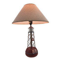 Red Buoy Nautical Table Lamp with Linen Shade - This red buoy table lamp adds the finishing touch to any room with a nautical theme. It measures 20 inches tall, has a 5 inch diameter wooden base, and comes with a 14 inch diameter linen shade. The lamp has a 5 foot black power cord with a thumbwheel on/off switch, and uses up to 40 watt (max) type `A` bulbs (not included). The lamp is hand painted, has a wonderful distressed finish, and is sure to be admired.