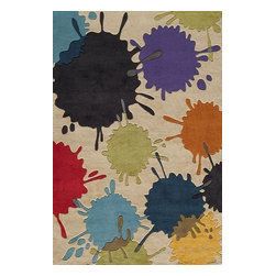Momeni - Momeni Lil Mo Hipster Lmt9 Ivory Rug - The ultra-hip elements are captured to make 'Lil Mo Hipster the ultimate 'tween collection. Comic book inspired waves, bold millifleur and edgy skaters adorn these hand-tufted mod-acrylic pieces. A funky use of color makes these the perfect complement to any up and coming hipster's decor!