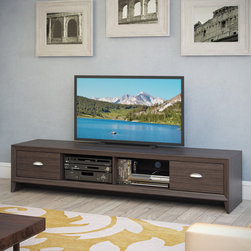 CorLiving - CorLiving Lakewood Modern Wenge Finish Extra Wide TV Bench - Admire the elegant modern design in the new TV Bench from the Lakewood Collection by CorLiving. This low profile extra long bench is featured in a dark wenge finish accented with imitation nickel handles.