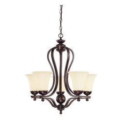 Savoy House - 5 Light Up Lighting Chandelier Vanguard Collection - Vanguard 5 Light Chandelier5 Medium Base 60WCream Opal Etched Glass