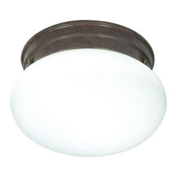 """Nuvo Lighting - Nuvo Lighting 76/600 Single Light 8"""" Flush Mount Ceiling Fixture with Small Whit - Nuvo Lighting 76/600 Single Light 8"""" Flush Mount Ceiling Fixture with Small White Mushroom Shade, in Old Bronze FinishNuvo Lighting 76/600 Features:"""