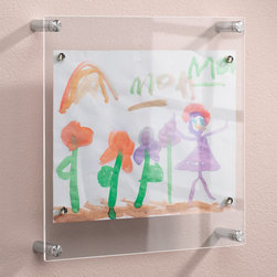 """Exposures - Frame For Kids Art - Overview """"This ingenious frame for kids art holds your childs artistic creations 2"""" away from the wall surface to accommodate everything from 3-D macaroni projects to the first self-portrait. This kid art frame has super-strong magnets that hold artwork securely in place and make masterpieces easy to change out. 12"""" wide by 12 high x 1 1/2"""" deep.  Features Acrylic magnetic frame Brushed stainless steel hardware  Super-strong magnets hold artwork in place Clean only with a damp cloth and dish soap, no multi-cleaner or glass cleaner """" Specifications  12"""" wide by 12 high x 1 1/2"""" deep"""