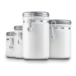 Anchor Hocking - Ceramic Canister Set 4 Pc. White - Anchor Hocking 03922MR Home Collection 4 Pc. White Ceramic Clamp Top Canister Set with Chrome Lids - Gift Box