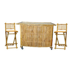 Bamboo54 - 3 Pc Bamboo Bar Set with Stools - With 3 piece bar set, bring your personal tropical bar home. With bamboo bar table & two bar stools, entertaining is a breeze. Sturdy bamboo construction is common to all three pieces of this set. Casters helps move your personal bar table anywhere effortlessly. Natural bamboo finish lends a timeless, classic appeal to your bar. * Set includes Bar Table and 2 Bar Stools. Bar stools are 5461 models. 2 shelves behind bar. Made of Bamboo. Some assembly required on the bar. Table: 60 in. L x 25 in. D x 43 in. H. Stools: 19 in. W x 42 in. H