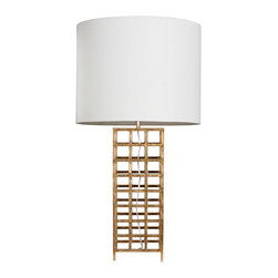 "Worlds Away - Worlds Away Sawyer Gold Leaf Iron Table Lamp - The Worlds Away Sawyer table lamp illuminates interiors with geometric appeal. An iron grid design lends contemporary drama in a gold leaf finish. 18"" Dia x 33""H; Round white linen shade; Accepts one 60W max bulb (not included); Cord: 8'L"