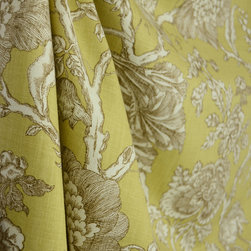 Robert - Cherrington Citrine Golden Green Jacobean Floral Drapery Fabric By The Yard - A lightweight cotton fabric printed with a golden green and olive green Jacobean floral pattern.  Cherrington Citrine is best used for window treatments, bedding and pillows.