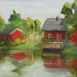 Red House on the Lake - This signed painting by Inna Lazarev provides your home with a beautiful piece of art in additional to a bright spot of color. The red house and barn pop off the painting bringing to life various other accent colors in your room.