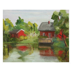 Red House On The Lake, Original, Painting - This signed painting by Inna Lazarev provides your home with a beautiful piece of art in additional to a bright spot of color. The red house and barn pop off the painting bringing to life various other accent colors in your room.