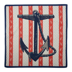 """Thomas Paul - Anchor Vineyard Napkin - The handmade Thomas Paul Anchor Vineyard Napkin features hand screened prints on 100% cotton. The napkin features the nautical image of an anchor against a striped floral background. The red, white, and blue print adds a pop of americana color to your kitchen or dining room.  These will delight guests of your own, but they also make a great housewarming or wedding present.     About the Artist: After graduating from NYC's famed FIT, Thomas Paul started his career as a colorist and designer at a silk mill. Eventually, he leveraged his knowledge of silk materials & print to launch a neckwear line of his own. Over time, Paul loved the idea of applying menswear print and design into a collection of home decor, which is what we see in his goods today. His background has embedded in him a passion for quality production techniques. Even as his brand grows, he continues to ensure all of his prints are hand screened - a slow, detailed process that results in each piece being a unique piece of artwork. Paul also pushes the envelope in terms of bold prints and hand ground materials.       """"My vision for the thomaspaul brand has always been about combining classic design motifs from different periods in textile design. Incorporating anything from an 18th century Damask pattern to a camouflage print. The unifying thread between so many different styles is to change the designs so they are updated for today. For me this means changing the scale, so they are always bold, and reducing down the colors and details, so most designs are reduced to two or three colors and become very flat, bold prints. I am always looking to vintage fabrics and motifs for inspiration and new ideas, but always try to update these to look good for today."""" - Thomas Paul   Product Details:"""