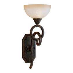 Uttermost Legato Glass Wall Sconce - Distressed chestnut brown with heavily frosted, scavo glass globes. The linear complexity of this design is unique and intriguing, yet somehow very simple with its own quiet elegance. This collection can move easily from casual thru contemporary, and the classic shape of the scavo glass softens and relaxes the effect to give it a long term appeal.