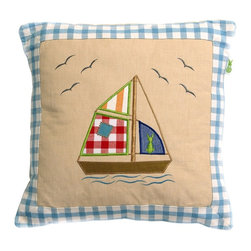 Wingreen - Appliqued Cushion Cover - Beach House - Our Beach House Cushion Cover is appliqued and embroidered with a big bright sail boat and some friendly seagulls!  Finished with a blue gingham border.