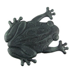 Zeckos - Cast Iron Frog Garden Stepping Stone Step Tile - This black and verdigris green cast iron frog garden stepping stone is a great addition to gardens, flower beds and patios. The frog measures 12 1/2 inches by 11 1/4 inches, and is 5/8 of an inch high. It won't crack or chip like resin or stone stepping stones, so it's great for areas that freeze in winter. Buy multiples to create pathways in your garden, or use a single one between your patio and lawn as a decor piece.