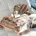 """Huntington Stripe Hooded Robe, Medium - The soft stripes on our robe recall the blankets used by the gauchos of Argentina. The robe is made of pure Turkish cotton, prized for its absorbency and plush texture, so you can relax in superb comfort after a swim or shower. Made of pure cotton. Yarn dyed for vibrant, lasting color. 350-gram weight. Monogramming is available at an additional charge. Monogram is 2"""" and will be placed on the upper left side of the robe. Machine wash. Internet only. Made in Turkey."""