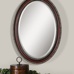 Montrose Antiqued Silver Oval Wall Mirror -