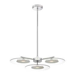 "Possini Euro Design - Possini Euro Design 22"" Clear Glass Disc Pendant Light - An exceptionally well-styled LED pendant light that adds a modern touch to your decor. This ceiling fixture features a chrome finish canopy and rod and three clear glass discs with white diffusers for a soft glow. A modern classic from Possini Euro Design. Chrome finish metal. Clear glass. White diffuser. 22"" wide. 9 5/8"" minimum height. 45 5/8"" maximum height. Includes three 10 watt LED. 2700K color temperature. Light output is 1700 lumens. Comparable to a 100 watt incandescent bulb. Includes one 6"" and three 12"" rods. Canopy is 4 3/4"" wide. Hang weight is 6 pounds.  Chrome finish metal.  Clear glass.  White diffuser.  Includes three 10 watt LED.  22"" wide.  9 5/8"" minimum height.  45 5/8"" maximum height.  Includes one 6"" and three 12"" rods.  Canopy is 4 3/4"" wide.  Hang weight is 6 pounds.  Not for use with dimmers."