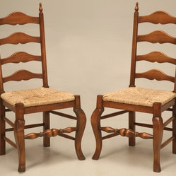 Pair of Vintage English Solid Oak Ladder Back Side Chairs