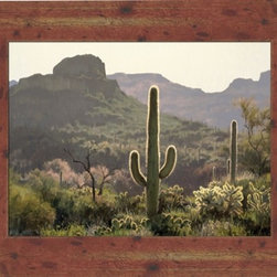 """Backlit Needles 22x28 Print - """"Backlit Needles"""" is a landscape canvas giclee by Jay Moore. We present this to you in a red ceder wood finished frame, making an overall framed size of 22x28."""