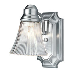 Joshua Marshal - One Light Brushed Nickel Clear Ribbed Glass Bathroom Sconce - One Light Brushed Nickel Clear Ribbed Glass Bathroom Sconce