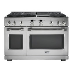 "GE Monogram 48"" professional range with four gas burners, a grill and a griddle - A Monogram professional range delivers restaurant-caliber performance with up to 126,000 BTUs of total cooking power. Each sealed, dual-flame stacked burner offers a full spectrum of simmer temperatures, from 140 to 195 degrees F, along with a maximum heating capacity of 18,000 BTUs and infinite settings in between. High-output grilling and griddle capabilities add important cooking versatility.An advanced baking system combines European reverse-air convection technology and six heating elements to promote even air and heat circulation within the range. Electronic controls allow precise adjustment of preheating and baking functions for superb results."
