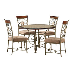 "Steve Silver - Steve Silver Thompson 5 Piece 45 Inch Round Dining Room Set - Retreat to your corner of the world at this informal 45"" round Thompson Table from Steve Silver made of birch wood frame with faux marble inset and metal base. The casual styling of this table with corner-blocked construction and tongue and groove joints provides carefree comfort for four. What's included: Dining Table (1), Side Chair (4)."