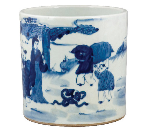 Oriental Danny - Blue and white porcelain pot - Blue and white porcelain pot with family scene. In old times, this cylinder pot was used to hold calligraphy brushes, and also call brush pot. This pot holds beautiful orchid or house plant.