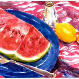 Caroline's Treasures - Watermelon Glass Cutting Board Large Size - Large Cutting Board ... Made of tempered glass, these unique cutting boards are some of your favorite artists prints. 15 inches high and 12 inches long, they will beautify and protect your counter top. Heat resistant, non skid feet, and virtually unbreakable!