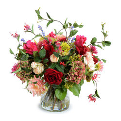 New Growth Designs - Mixed Flower Bouquet Arrangement - With over 18 different types of faux flowers in this lavish bouquet, you'd never guess it isn't real. Arranged in a large glass bucket vase and permanently secured with acrylic solution, these flowers will always look freshly picked.