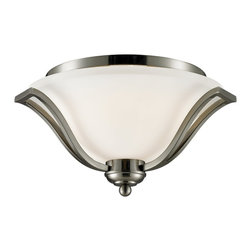 Z-Lite - Z-Lite Lagoon Ceiling Light X-NB-3F407 - This lustrous three light Ceiling Light lamp paired with its brushed nickel finish and its matte opal shade brings with it an air of refined class.