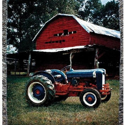 Manual - Mill Spring Farm Tractor Print Tapestry Throw Blanket 50 Inch x 60 Inch - This multicolored woven tapestry throw blanket is a wonderful addition to your home or cabin. Made of cotton, the blanket measures 50 inches wide, 60 inches long, and has approximately 1 1/2 inches of fringe around the border. The blanket features a print of a vintage tractor in front of an old barn. Care instructions are to machine wash in cold water on a delicate cycle, tumble dry on low heat, wash with dark colors separately, and do not bleach. This comfy blanket makes a great housewarming gift that is sure to be loved.