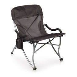 "Picnic time - Extra-Wide Camp Chair, Black - Portable extra-wide folding chair with 23"" seat. Includes beverage pocket on armrest and carrying bag with shoulder strap."
