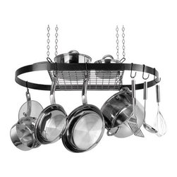 "Range Kleen - Black Oval Pot Rack - Black wrought iron and stainless steel Oval Pot Rack  includes 4 ceiling hooks  4 lengths of chair  4 ""S"" hooks and 12 pot hooks.  This item cannot be shipped to APO/FPO addresses. Please accept our apologies."