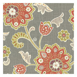 Gray & Orange Stylized Floral Fabric - Funky stylized floral with bold bursts of burnt orange & small hints of metallic gold & chartreuse swirling across a cherry red cotton background.Recover your chair. Upholster a wall. Create a framed piece of art. Sew your own home accent. Whatever your decorating project, Loom's gorgeous, designer fabrics by the yard are up to the challenge!