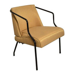 "Pre-owned Art Deco Viko Baumritter Style Yellow Chair - Retro is waiting to grace your home with this knock-out arm chair!  This piece will pop in any room with it's sexy bent metal frame and reflective geometric fabric.  It has a lovely cushy spring seat and unique curved back.  This chair is unsigned and unmarked, but styled after Viko Baumritter which later became Ethan Allen Furniture.      The seller says: ""As always, we use all new cushions/batting and durable commercial rated fabrics.""    Disclosure:   All items are vintage and refurbished. They are not perfect as they are historical relics brought back to life.    We have more inventory in our Williamsburg Brooklyn store:  Flipping Vintage  224 Roebling Street  Brooklyn, NY 11211  718-388-7030"