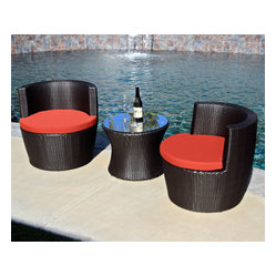 Pineapple 3-Piece Stacking Patio Chat Set, Henna Cushions