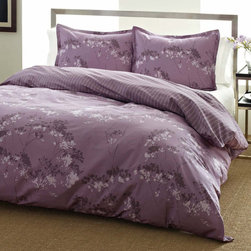 City Scene - City Scene Blossom Cotton 3-piece Duvet Cover Set - The City Scene Blossom Cotton Duvet Three-piece Cover Set features a gorgeous sparse floral pattern with s subtle stripe on the reverse. This purple machine washable cover set keeps the bedroom in fashion with iconic contemporary looks.