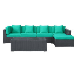 Modway - Modern Patio Furniture Signal 5 PC Sectional Set, Espresso & Turquoise - Engage adaptively with the Signal Outdoor Set. Embed your environs with clues for attaining allostasis with an alert orange and white design that focuses your natural acumen. Command success in progressive steps with a piece that neutralizes outside distractions.