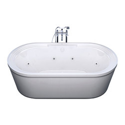 Venzi - Venzi Padre 34 x 67 Oval Freestanding Whirlpool Jetted Bathtub - The Padre series freestanding bathtub combines the traditional freestanding design with a contemporary touch of simple forms and shapes.