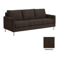 Apt2B - Olympic Sofa, Woven Chocolate - The Olympic Sofa Collection is a modern take on a classic. With clean lines, sharp features and stylish chrome legs, it's a great addition to any room it's in.