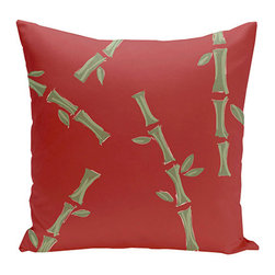 e by design - Bamboo Red and Green 16-Inch Cotton Decorative Pillow - - Decorate and personalize your home with coastal cotton pillows that embody color and style from e by design  - Fill Material: Synthetic down  - Closure: Concealed Zipper  - Care Instructions: Spot clean recommended  - Made in USA e by design - CPO-NR13-Babybamboo_Buddha-16