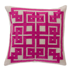 Surya Rugs - Raspberry and Oatmeal Polyester Filled 20 x 20  Pillow - - This trendy design will bring the perfect amount of style to your home. This pillow has a polyester fill and a zipper closure. Made in India with one hundred percent Linen and cotton detail this pillow is durable and priced right  - Cleaning/Care: Blot. Dry Clean  - Filled Material: Polyester Filler Surya Rugs - LD008-2020P